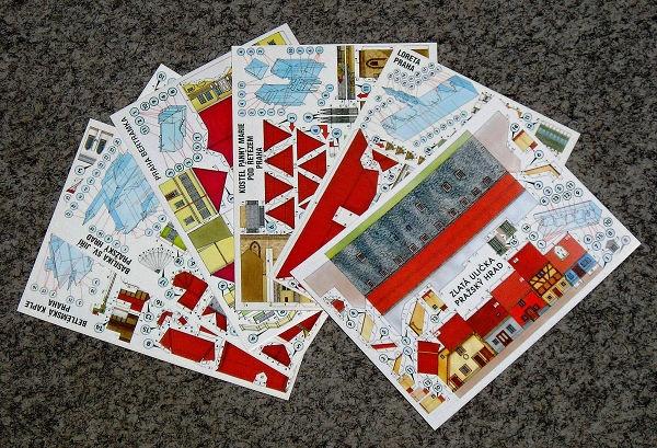7f412116e7 Vystřihovací pohlednice pražských památek (sada 6 ks pohlednic - mix)